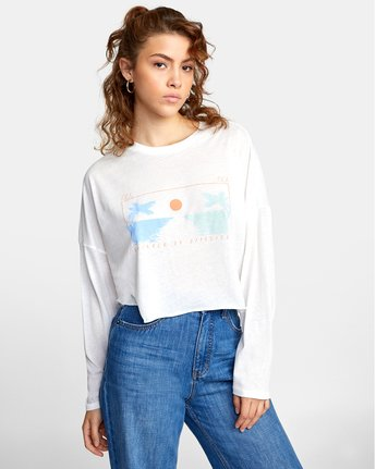 3 ATLANTIC VIEWS LONG SLEEVE TEE White AVJZT00141 RVCA