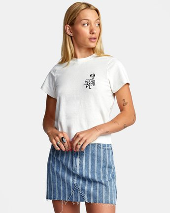 4 PEACE OUT SHORT SLEEVE TEE White AVJZT00194 RVCA