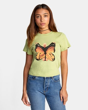 1 Dana Trippe Dana Butterfly Short Sleeve Tee Green AVJZT00258 RVCA