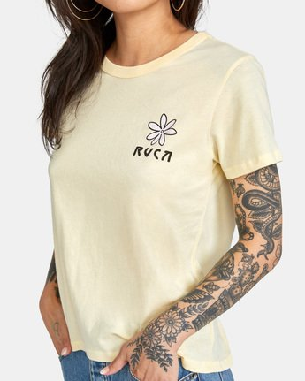 4 Throwback Short Sleeve Tee Yellow AVJZT00271 RVCA