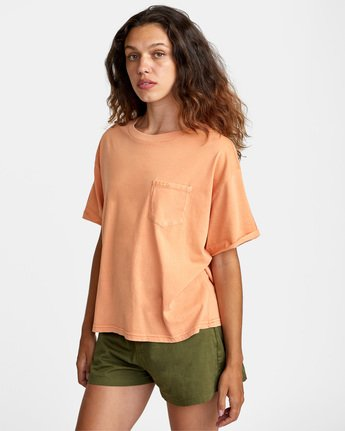 3 PTC Roll It Short Sleeve Tee Orange AVJZT00276 RVCA