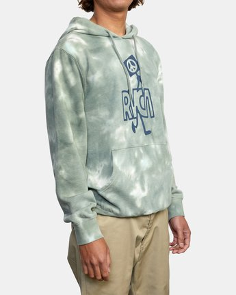 5 NEARBY TIE DYE PULLOVER HOODIE Green AVYFT00164 RVCA