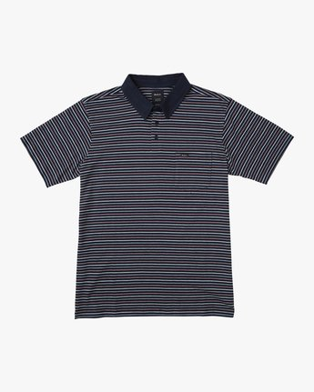 0 CASSADY STRIPE SHORT SLEEVE POLO SHIRT Blue AVYKT00124 RVCA