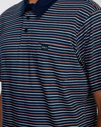 3 CASSADY STRIPE SHORT SLEEVE POLO SHIRT Blue AVYKT00124 RVCA