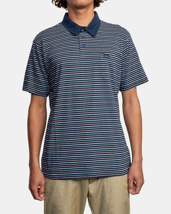 1 CASSADY STRIPE SHORT SLEEVE POLO SHIRT Blue AVYKT00124 RVCA