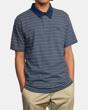 5 CASSADY STRIPE SHORT SLEEVE POLO SHIRT Blue AVYKT00124 RVCA