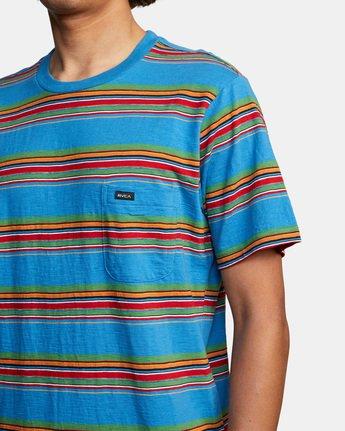 4 El Rosario Stripe Short Sleeve Tee Blue AVYKT00149 RVCA