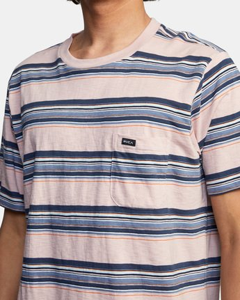 4 El Rosario Stripe Short Sleeve Tee Grey AVYKT00149 RVCA