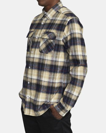 3 EMERSON FLANNEL LONG SLEEVE SHIRT Blue AVYWT00134 RVCA