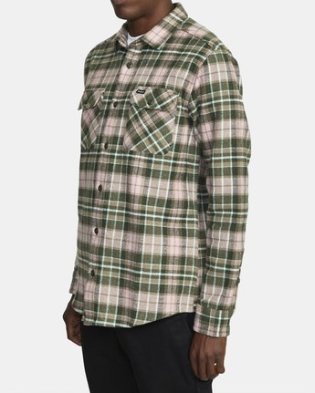 3 OPERATOR FLANNEL LONG SLEEVE SHIRT Green AVYWT00137 RVCA