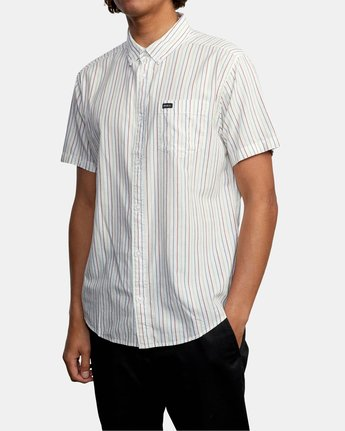 4 CASSIDY STRIPE SHORT SLEEVE SHIRT White AVYWT00149 RVCA
