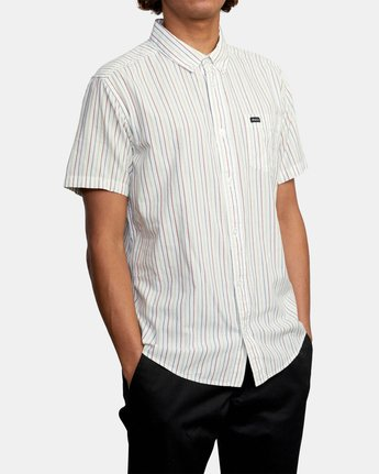 5 CASSIDY STRIPE SHORT SLEEVE SHIRT White AVYWT00149 RVCA