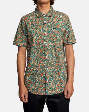 1 Mind Flower Paisley Short Sleeve Shirt Brown AVYWT00199 RVCA