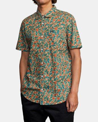 3 Mind Flower Paisley Short Sleeve Shirt Brown AVYWT00199 RVCA