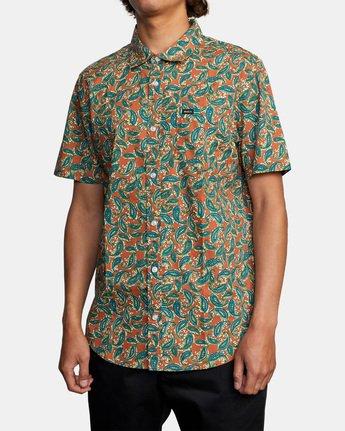 4 Mind Flower Paisley Short Sleeve Shirt Brown AVYWT00199 RVCA