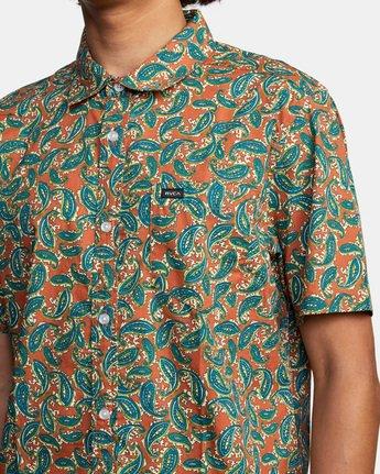 5 Mind Flower Paisley Short Sleeve Shirt Brown AVYWT00199 RVCA