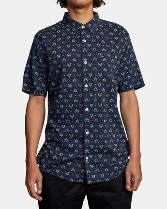 1 La Fleur Short Sleeve Shirt Blue AVYWT00204 RVCA