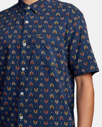 4 La Fleur Short Sleeve Shirt Blue AVYWT00204 RVCA
