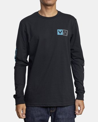 3 DIVIDES LONG SLEEVE TEE Black AVYZT00134 RVCA