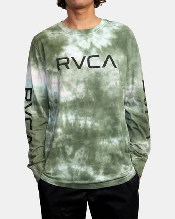 1 BIG RVCA TIE DYE LONG SLEEVE TEE Green AVYZT00223 RVCA