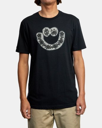 2 SKULL AND ROSES SHORT SLEEVE TEE Black AVYZT00228 RVCA