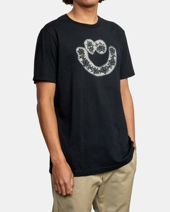 6 SKULL AND ROSES SHORT SLEEVE TEE Black AVYZT00228 RVCA