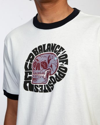 3 BALANCE SKULL SHORT SLEEVE TEE White AVYZT00265 RVCA