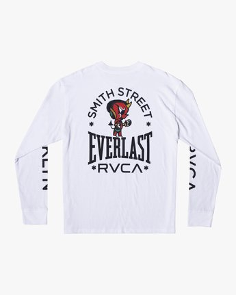 1 EVERLAST X SMITH STREET BIG DEVIL LONG SLEEVE WORKOUT T-SHIRT White AVYZT00284 RVCA