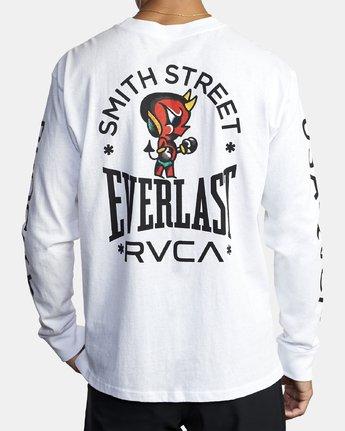 2 EVERLAST X SMITH STREET BIG DEVIL LONG SLEEVE WORKOUT T-SHIRT White AVYZT00284 RVCA
