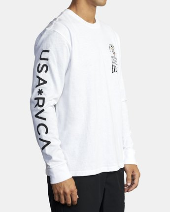 4 EVERLAST X SMITH STREET BIG DEVIL LONG SLEEVE WORKOUT T-SHIRT White AVYZT00284 RVCA