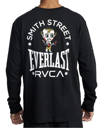 6 EVERLAST X SMITH STREET BIG ANGEL LONG SLEEVE WORKOUT T-SHIRT Black AVYZT00285 RVCA