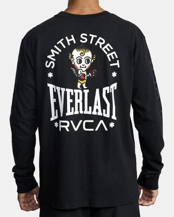 5 EVERLAST X SMITH STREET BIG ANGEL LONG SLEEVE WORKOUT T-SHIRT Black AVYZT00285 RVCA