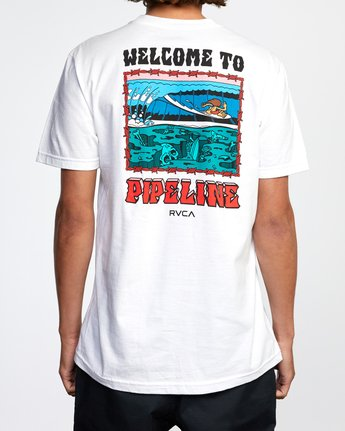 3 WELCOME TO PIPE SHORT SLEEVE TEE White AVYZT00325 RVCA