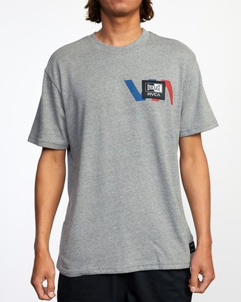 2 RVCA EVERLAST STACK PATCH SHORT SLEEVE TEE Grey AVYZT00398 RVCA