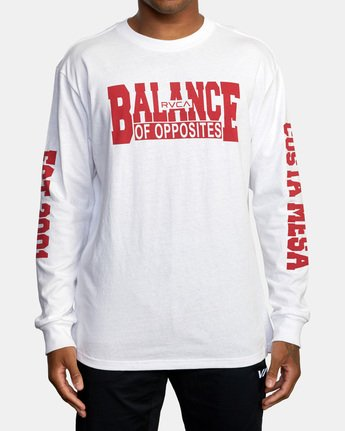 1 RVCA Balance Block Long Sleeve Tee White AVYZT00529 RVCA