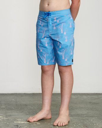 "2 Boy's KLW Palms 17"" Trunk Blue B101URKP RVCA"