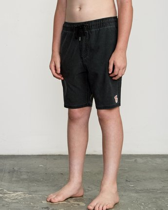 "2 Boy's Washer 16"" Elastic Trunk Black B119URWE RVCA"