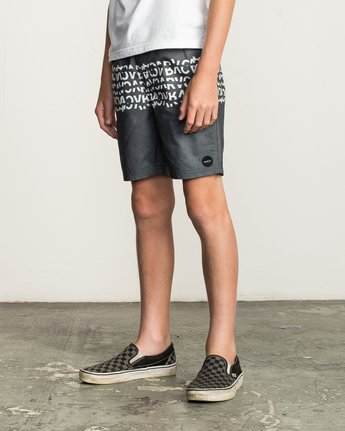 2 Boy's Shattered Elastic Trunk Black B169TRSH RVCA