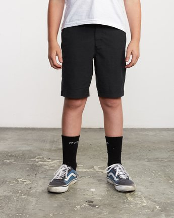 1 Boy's All Time Coastal Hybrid Short  Black B206QRCO RVCA