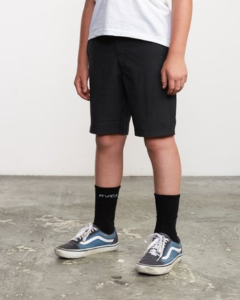 2 Boy's All Time Coastal Hybrid Short  Black B206QRCO RVCA
