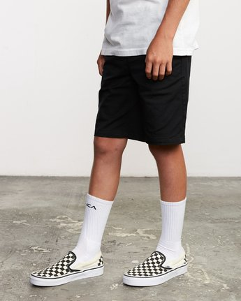 2 Boy's Weekday Stretch Short Black B240TRWD RVCA