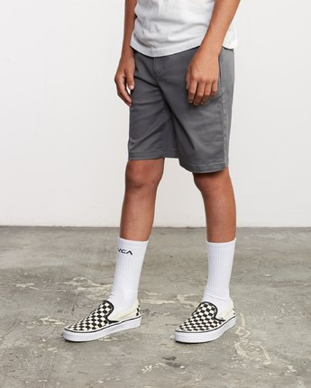 2 Boy's Weekday Stretch Short Grey B240TRWD RVCA