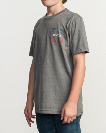 3 Boy's Motorstripe T-Shirt Grey B401TRMS RVCA