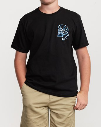 1 Boy's DMOTE Roller Skull T-Shirt Black B401VRRS RVCA