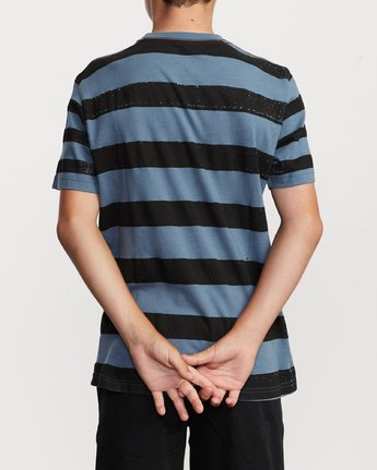 3 Boy's Copy Stripe T-Shirt Blue B406VRCO RVCA