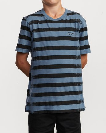 1 Boy's Copy Stripe T-Shirt Blue B406VRCO RVCA