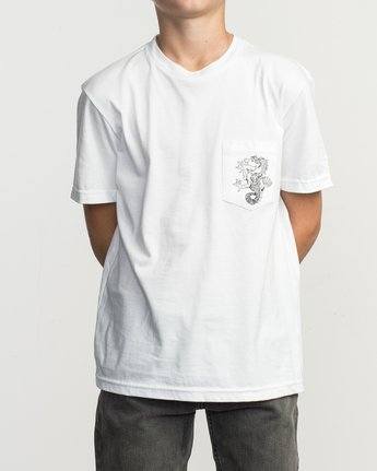 2 Boy's Pommier Stallion T-Shirt White B407TRST RVCA