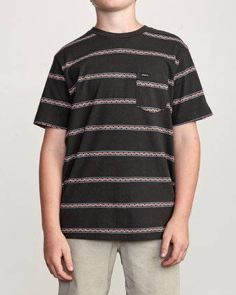 1 Boy's Retro VA Striped Pocket T-Shirt Black B412URRV RVCA