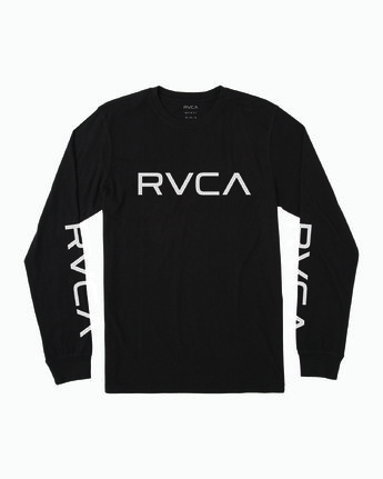 0 Boy's Big RVCA Long Sleeve T-Shirt Black B451SRBI RVCA