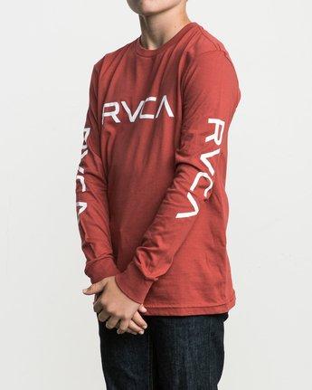 1 Boy's Big RVCA Long Sleeve T-Shirt Red B451SRBI RVCA